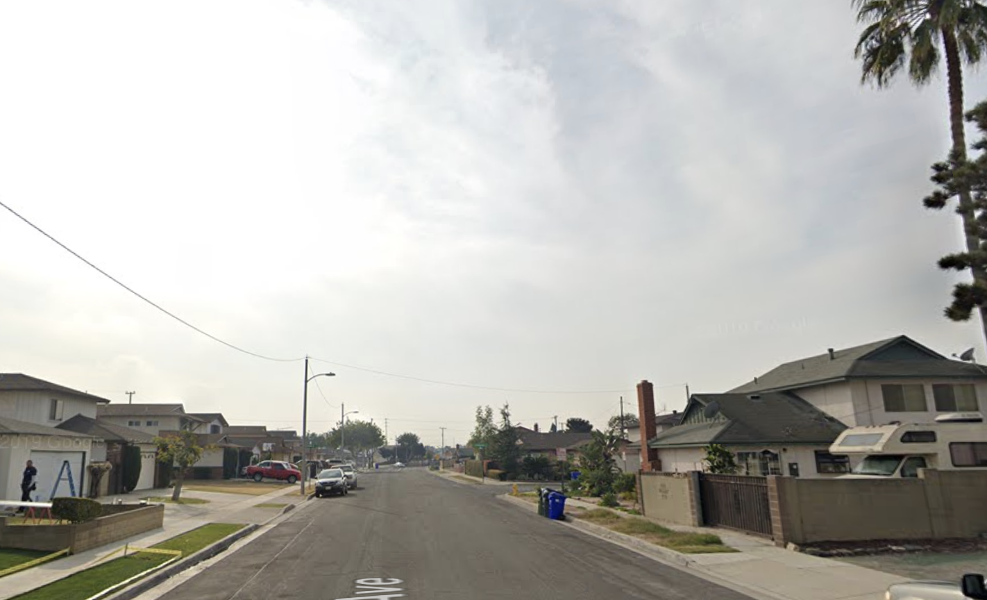 The 21700 block of South Acarus Avenue appears in an image from Google Maps.