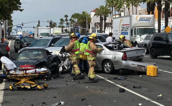 Costa Mesa Police Department officials tweeted this photo of a crash scene on July 27, 2020.