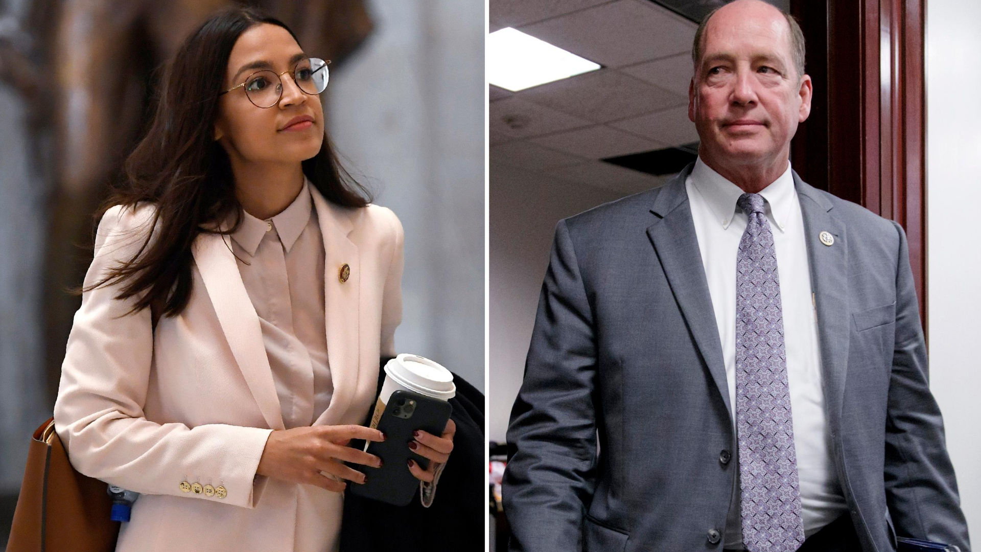This combo shows Rep. Alexandria Ocasio-Cortez, D-N.Y., walks Capitol Hill in Washington, on March 27, 2020, left, and Rep. Ted Yoho, R-Fla., at the Capitol in Washington on March 28, 2017. (AP Photo, File)