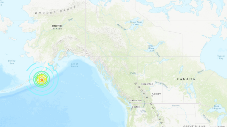 A U.S. Geological Survey map shows where a magnitude 7.8 earthquake hit Alaska at 10:12 p.m. on July 21, 2020.