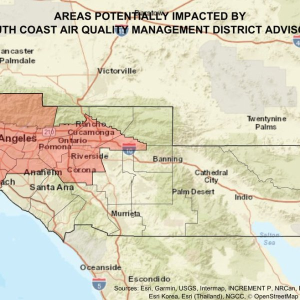The South Coast Air Quality Management District released this image showing areas with poor quality air on July 5, 2020.