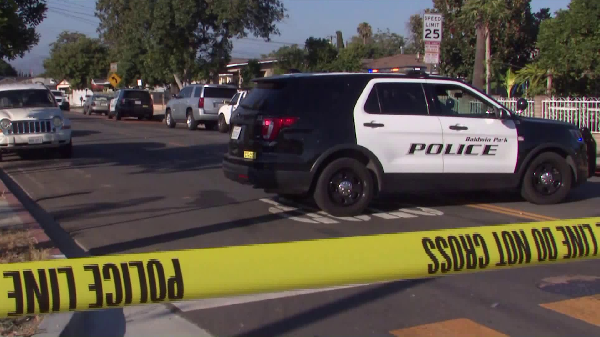 Authorities respond to investigate a double homicide in Baldwin Park on July 23, 2020. (KTLA)