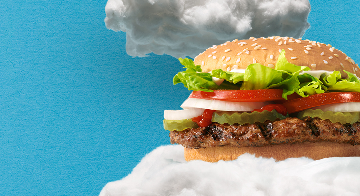 "Burger King released this photo of its ""Reduced Methane Emissions Beef Whopper"" in July 2020."