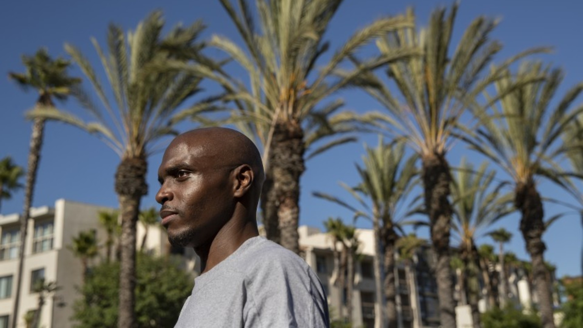 Rod Thompson Sr. 35, who was recently released early from Avenal State Prison because of the coronavirus outbreak, took Amtrak to L.A.'s Union Station after his release, even though he had tested positive for COVID-19 in May and was not sure if he still carried the virus. (Mel Melcon / Los Angeles Times)