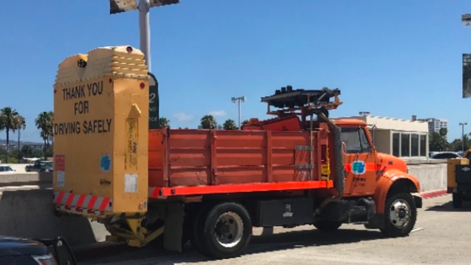 Irvine police released a photo of the Caltrans work truck.