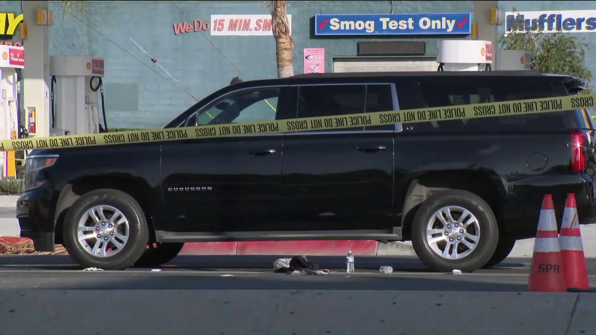 Crime tape surrounds a vehicle following a road-rage stabbing in Culver City on July 1, 2020. (KTLA)