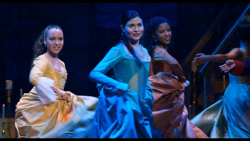"Jasmine Cephas Jones, left, Phillipa Soo and Renée Elise Goldsberry in ""Hamilton.""(Disney+)"