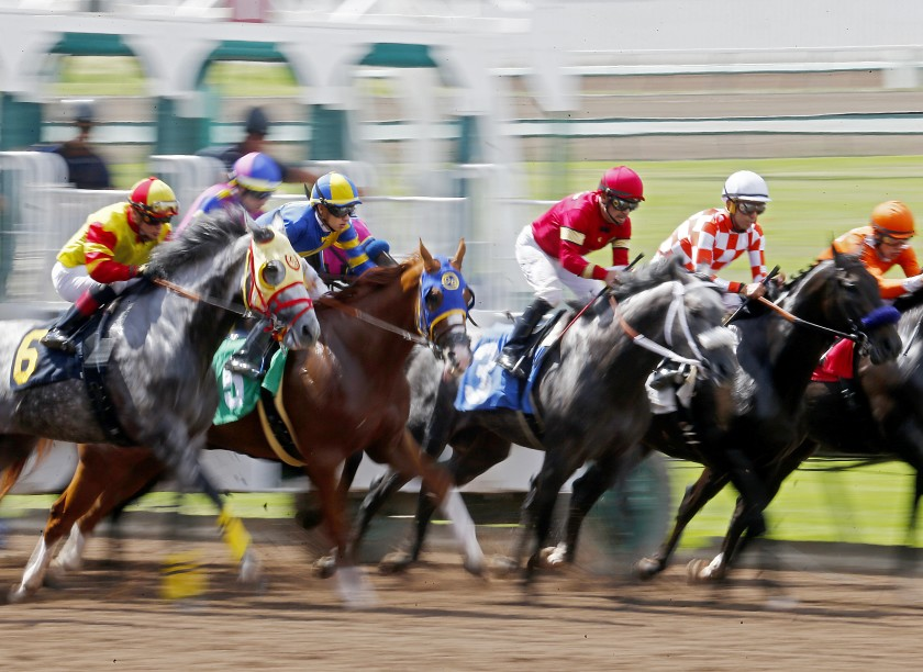 A race is held at the Los Alamitos Race Course in this undated photo. (Luis Sinco / Los Angeles Times)
