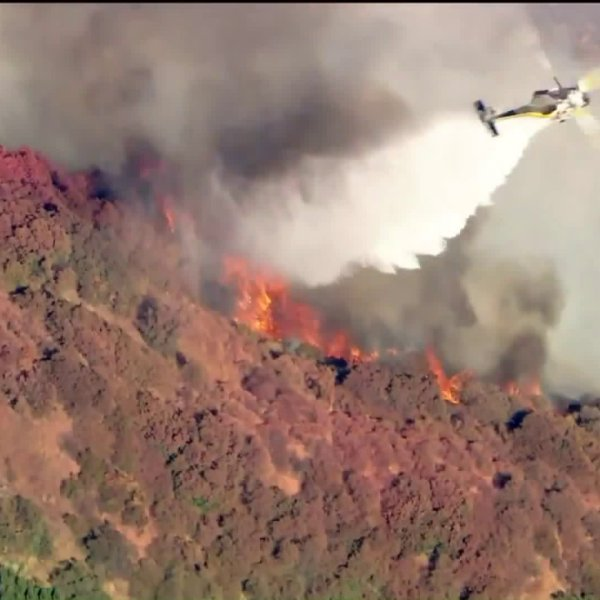 The Dam Fire north of Azusa on July 30, 2020. (KTLA)