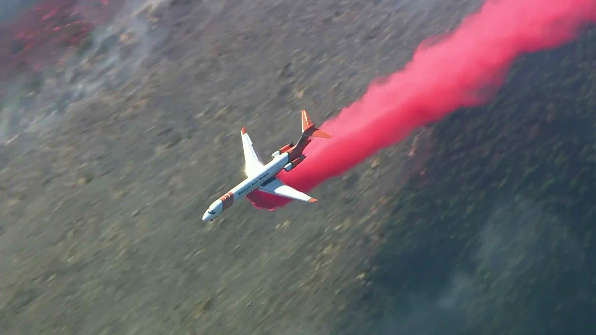 Crews battle a brush fire from the air in this file photo. (KTLA)