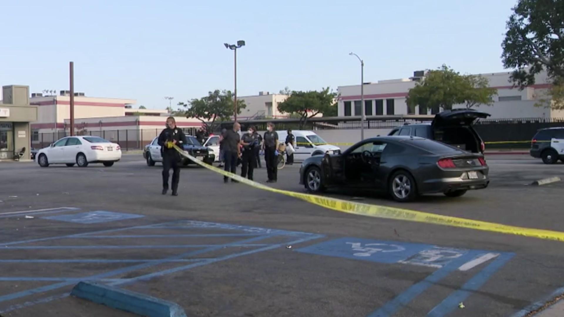 Police investigate a shooting in Glendale on July 30, 2020. (KTLA)