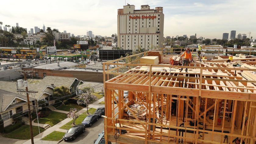 PATH's Metro Villas Phase 2 -- an affordable, supportive housing project -- is shown under construction in this 2019 photo. (Al Seib / Los Angeles Times)