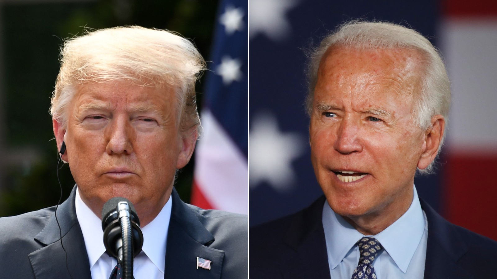 Donald Trump and Joe Biden are seen in undated photos. (Getty Images via CNN)