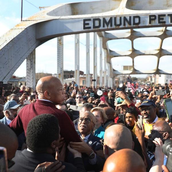 Rep. John Lewis (D-GA) speaks to the crowd at the Edmund Pettus Bridge crossing reenactment marking 55th anniversary of Selma's Bloody on March 1, 2020 in Selma, Alabama. (Joe Raedle/Getty Images)