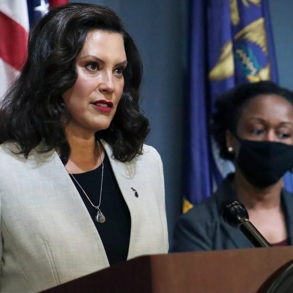 Michigan Gov. Gretchen Whitmer speaks in Lansing, Mich. on June 17, 2020. (Michigan Office of the Governor via AP, Pool, File)