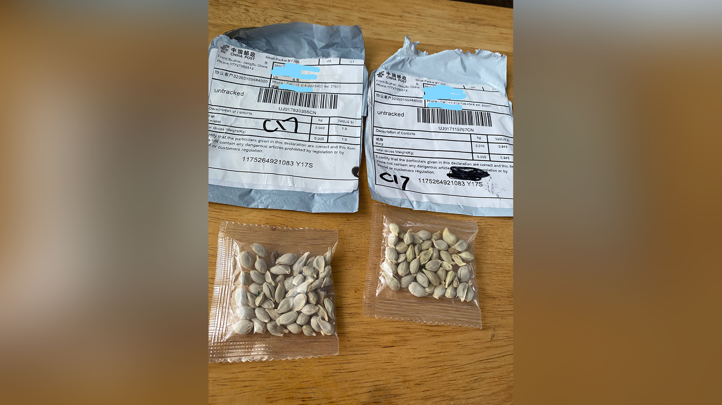 The Washington State Department of Agriculture released this image of packets of seeds in July 2020.
