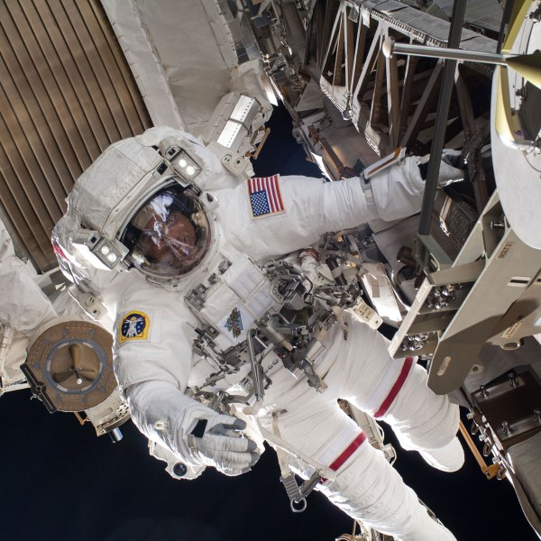 Expedition 36 Flight Engineer Chris Cassidy is pictured in July 9, 2013, during a six-hour, seven-minute spacewalk at the space station. (NASA)