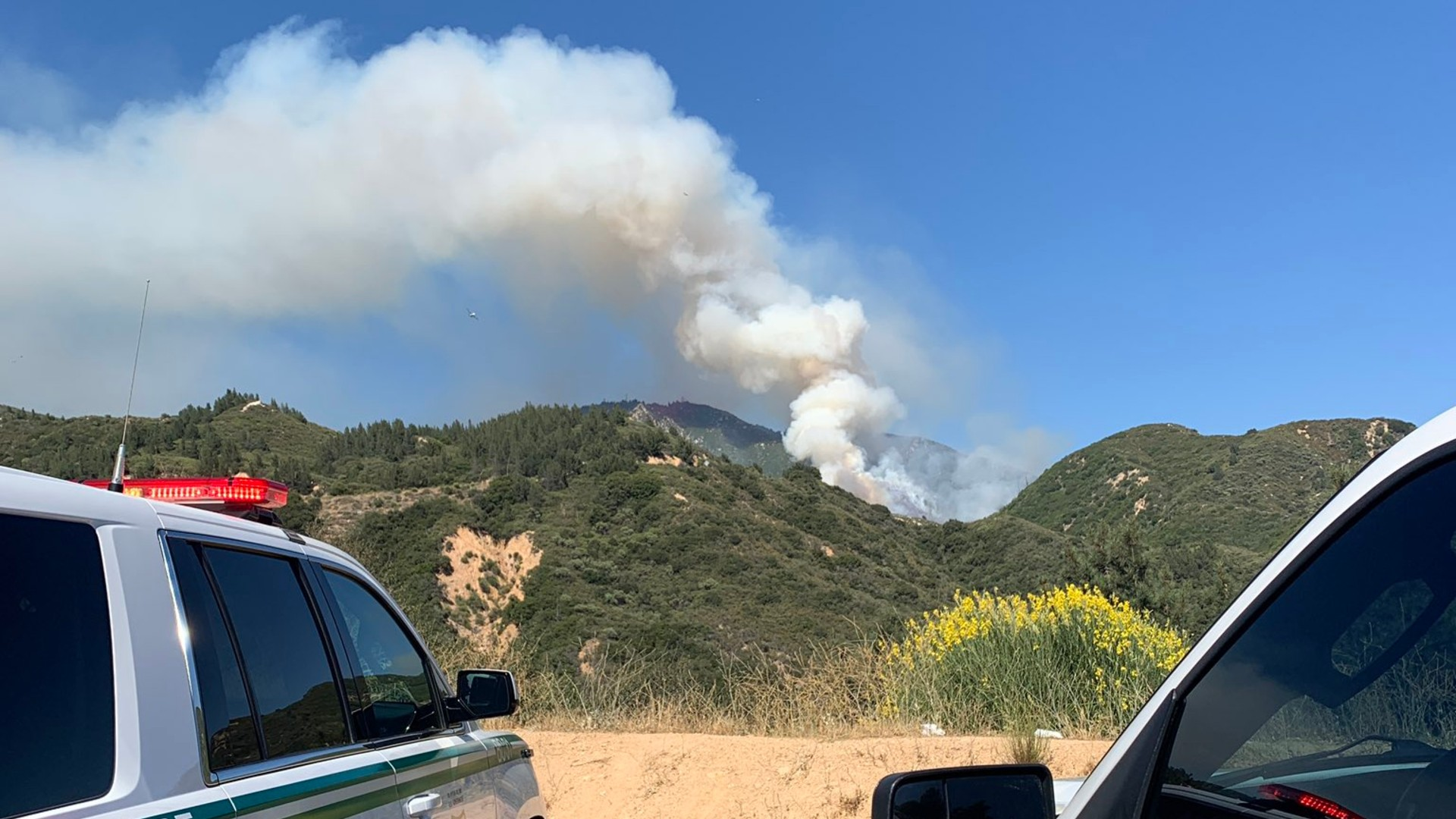 The Mount R Fire is seen in an image posted on the San Bernardino National Forest Twitter account.