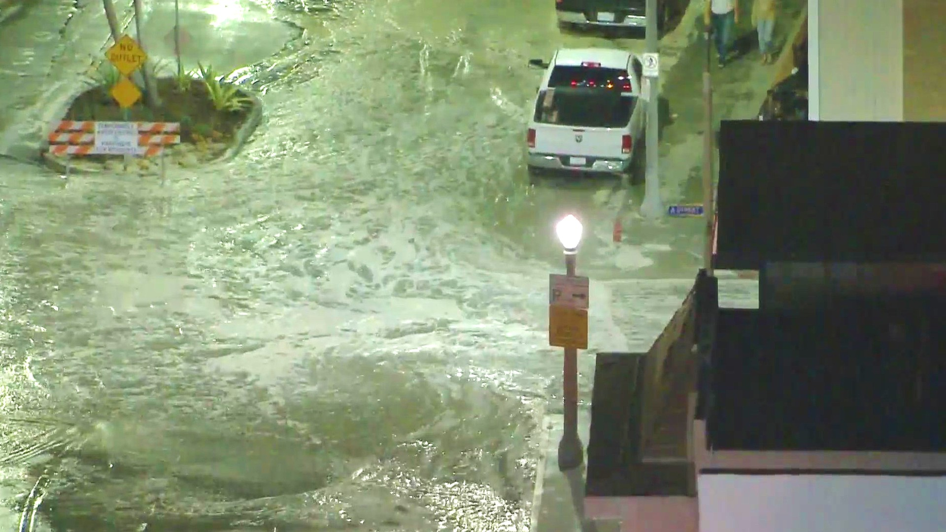 Floodwaters hit Newport Beach on July 3, 2020. (KTLA)