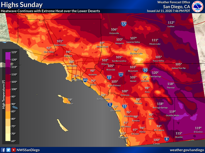 The National Weather Service tweeted this map showing temperatures in Southern California's forecast for July 12, 2020.