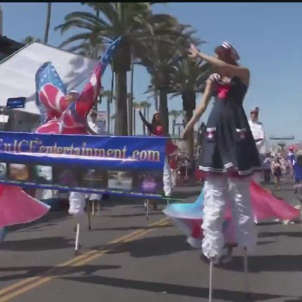 Performers are seen at the Huntington Beach 4th of July parade in this file photo. (KTLA)
