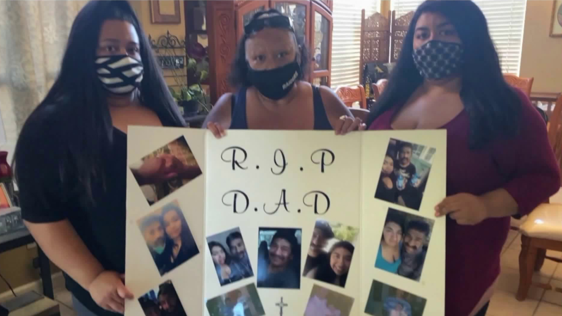 Family members hold up a poster remembering Daniel Garcia in a video posted to Facebook on July 13, 2020.
