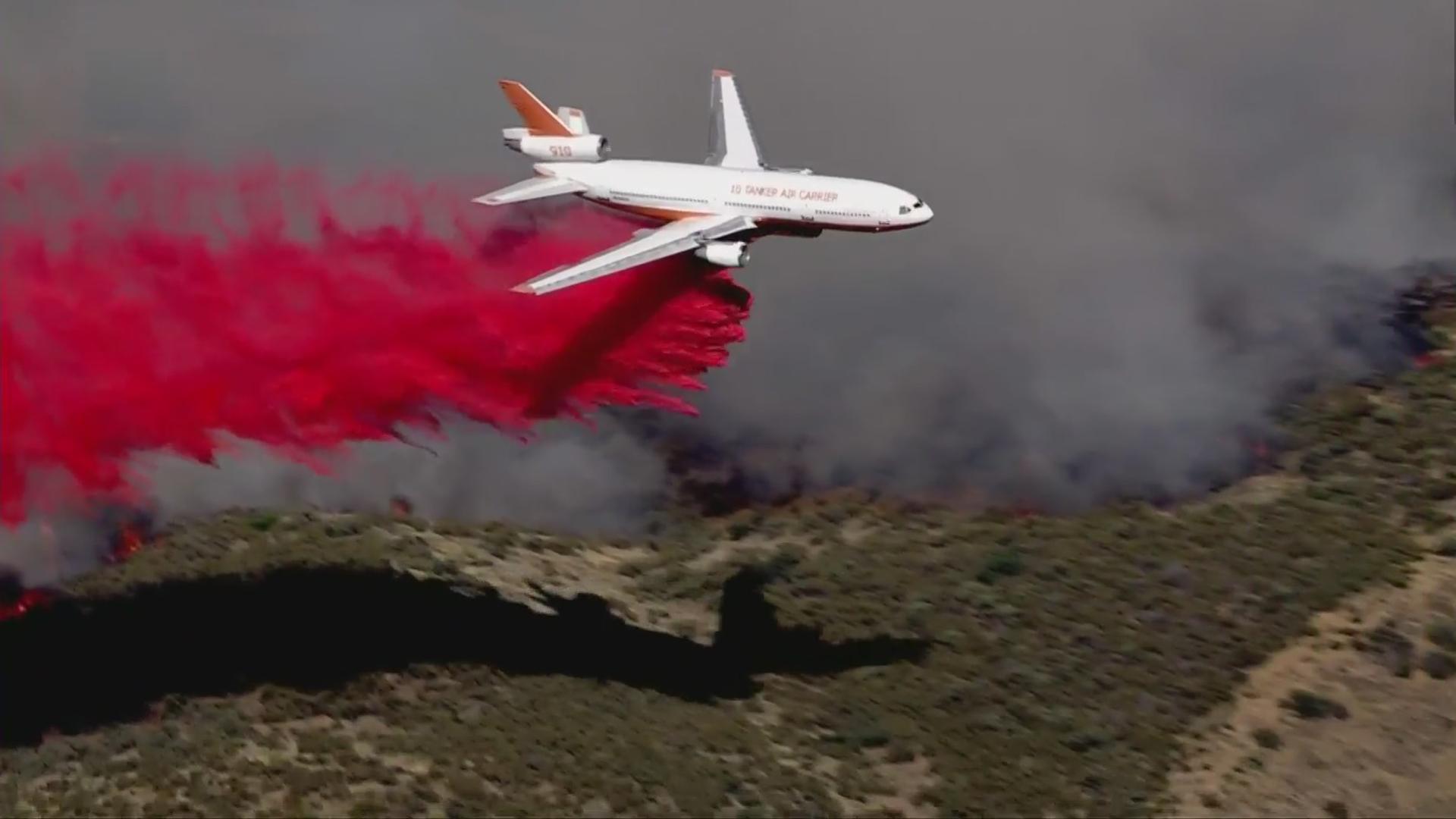 The Rowher Fire burns west of Agua Dulce on July 1, 2020. (KTLA)