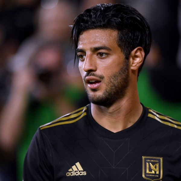 Carlos Vela of Los Angeles FC reacts after earning a corner kick during a 2-0 win over FC Cincinnati at Banc of California Stadium on April 13, 2019 in Los Angeles. (Harry How/Getty Images)