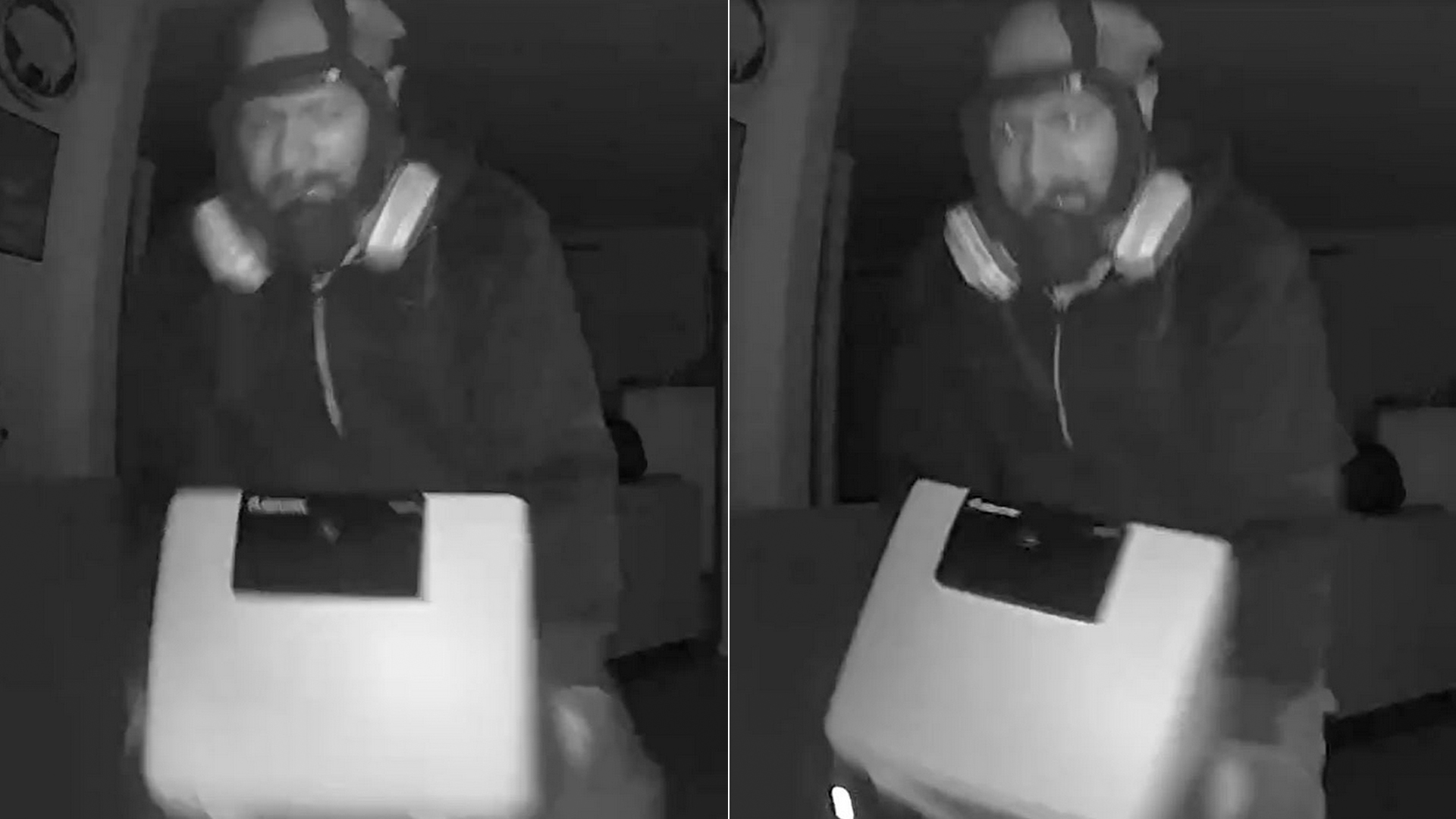 A man who allegedly stole a safe from a home being fumigated on June 25, 2020 is shown in photos provided by the Ventura Police Department on July 7, 2020.