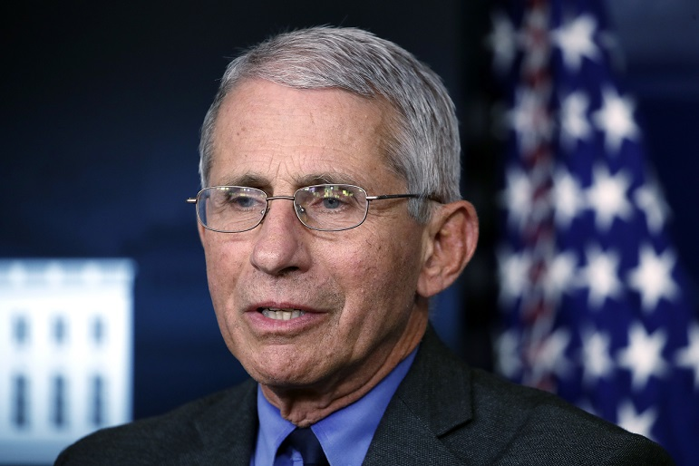 In this April 13, 2020 file photo, Dr. Anthony Fauci, director of the National Institute of Allergy and Infectious Diseases, speaks about the coronavirus in the James Brady Press Briefing Room at the White House in Washington. (AP Photo/Alex Brandon)