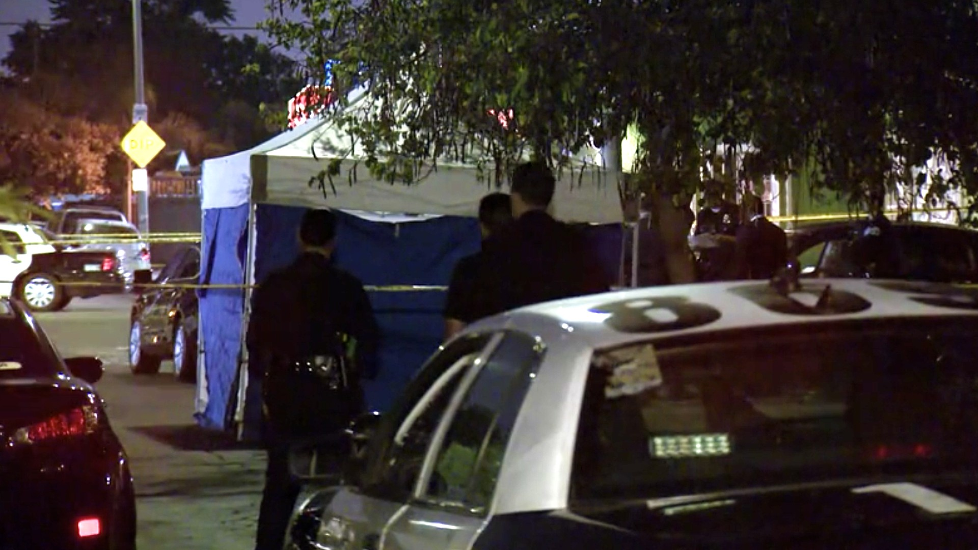 Police investigate a fatal shooting in Watts on July 7, 2020. (KTLA)