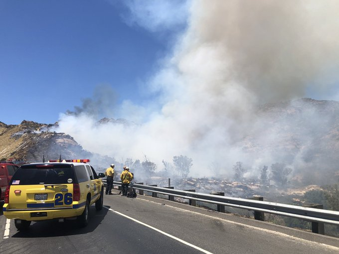 The Ventura County Fire Department tweeted this image of the Peak Fire on the 118 Freeway in the Chatsworth area on Aug. 11, 2020.