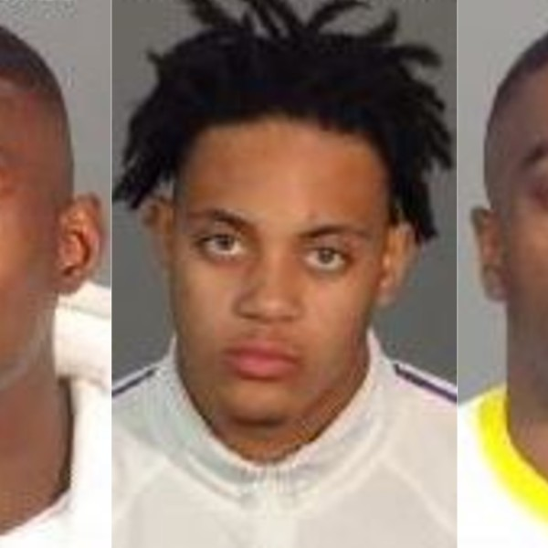 Brooks Hall, 20, Clarence Steele Jr., 19, and Gerald Young, 19, are seen in booking photos released on Aug. 18, 2020 by the L.A. County Sheriff's Department.
