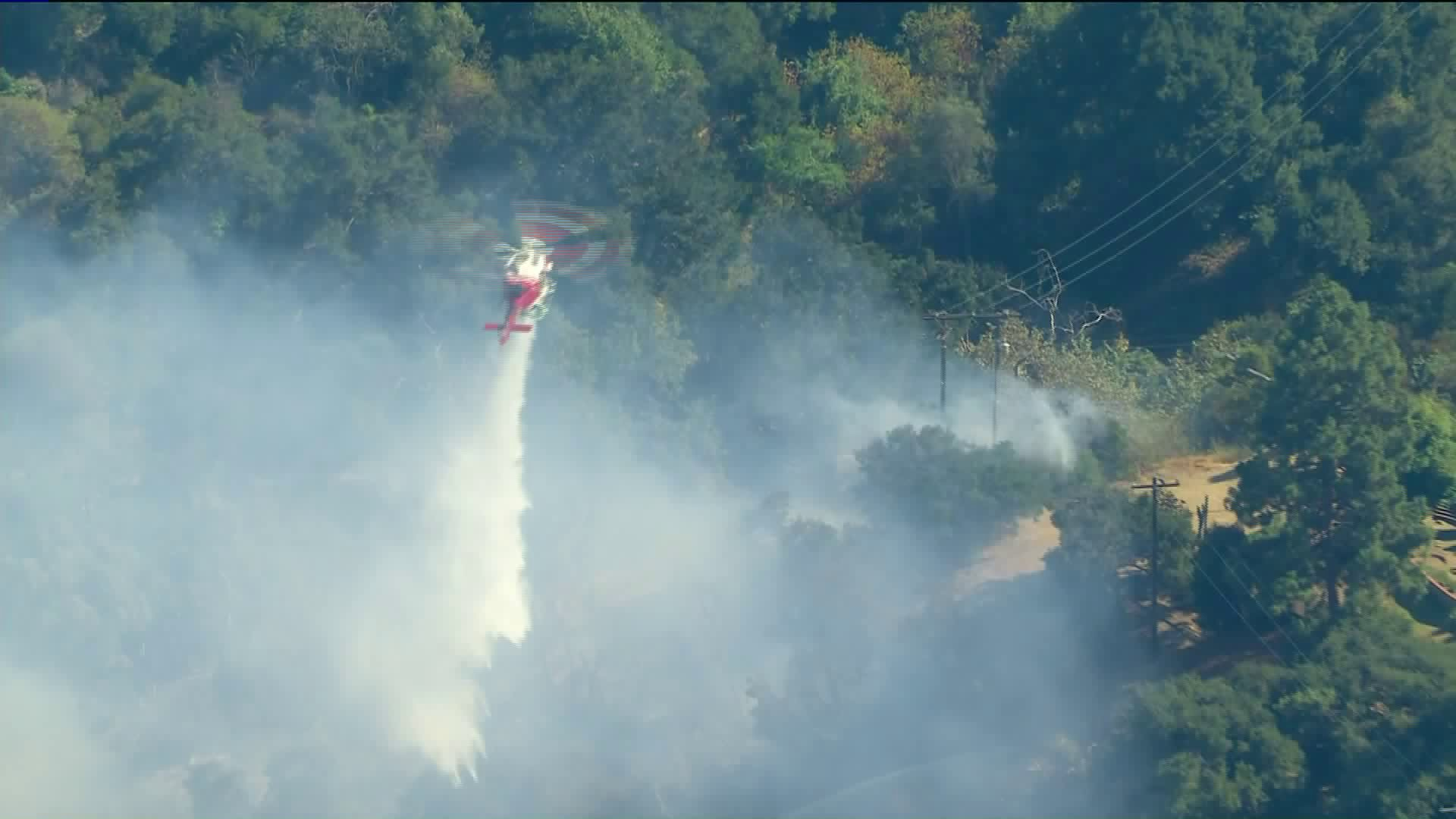 The Grove Fire in Hacienda Heights was burning brush in the area on Aug. 14, 2020. (KTLA)