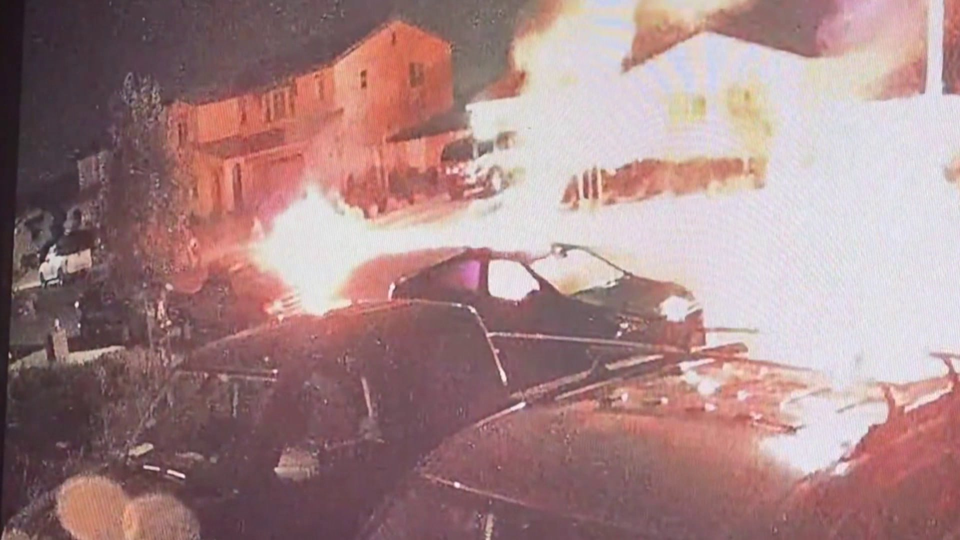 Video captured on July 31 around 4 a.m. shows a suspected arsonist running away after he set a car on fire in San Jacinto.