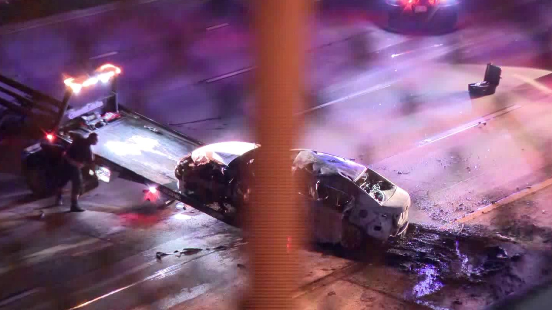 Crews respond to a fatal crash on the 210 Freeway in the La Crescenta-Montrose area on Aug. 3, 2020. (KTLA)