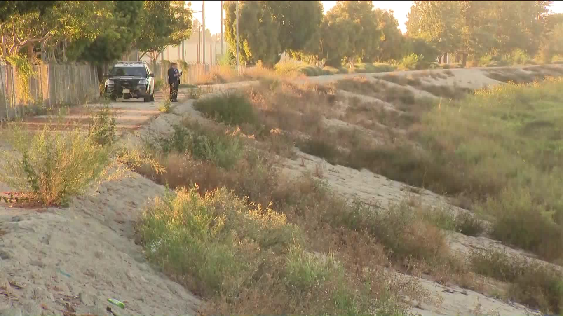 Human remains were found on Aug. 11, 2020, near a creek bed located on the 20200 block of South Santa Fe Avenue in Rancho Dominguez. (KTLA)
