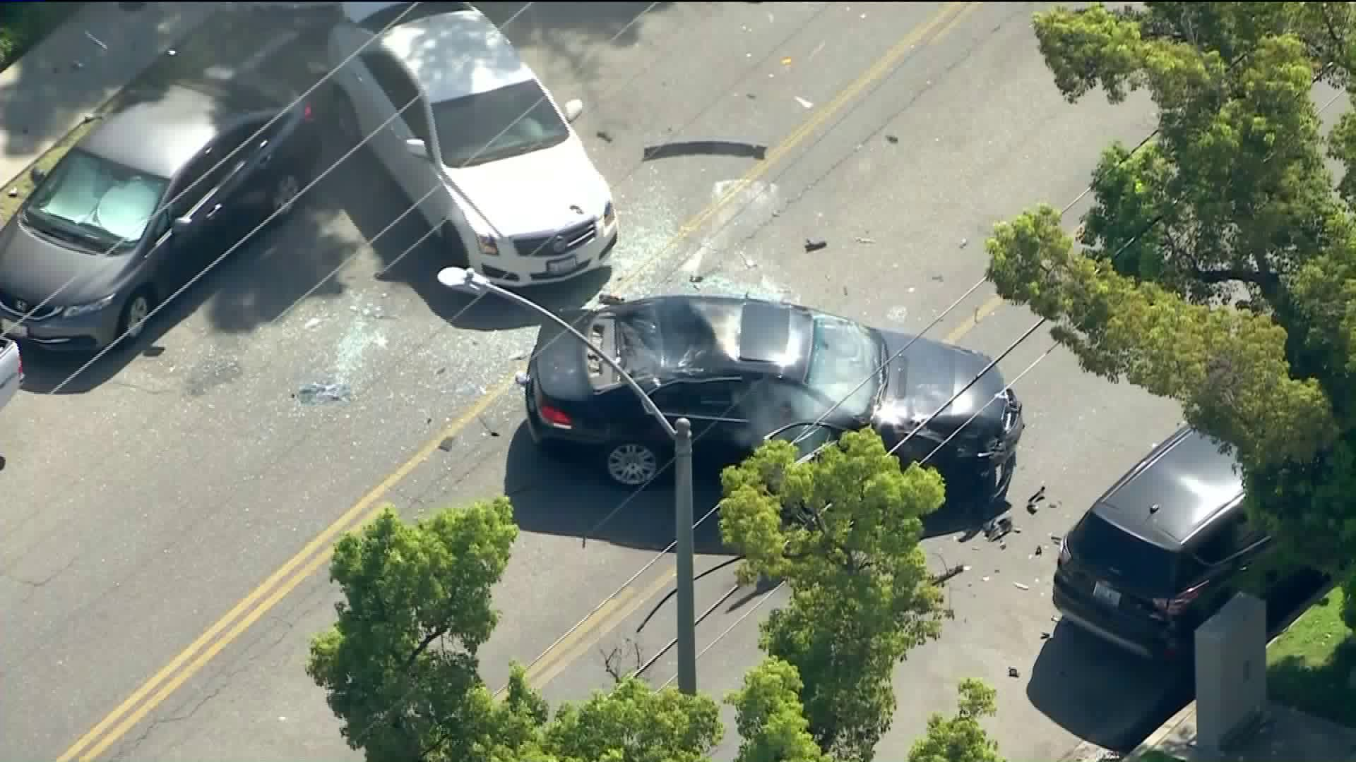 Authorities were pursuing a vehicle in Burbank on Aug. 5, 2020. (KTLA)