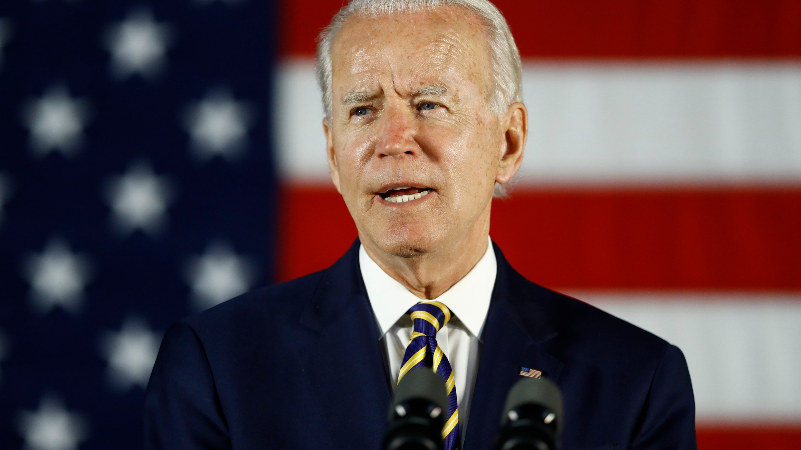 In this June 17, 2020, file photo, Democratic presidential candidate, former Vice President Joe Biden speaks in Darby, Pa. (AP Photo/Matt Slocum)