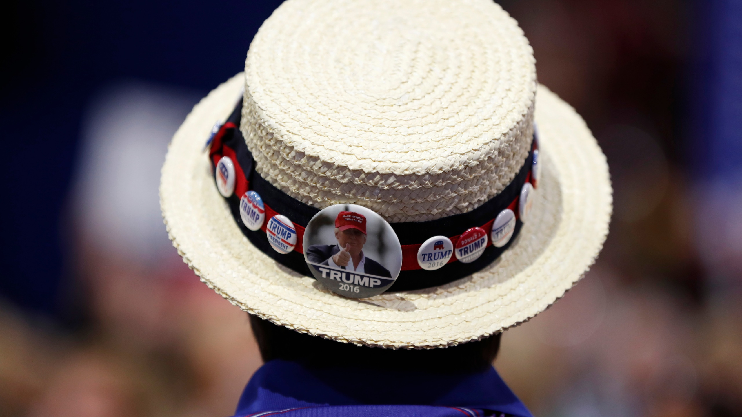 In this July 20, 2016 file photo, a delegate shows off support for Republican Presidential Candidate Donald Trump during the third day session of the Republican National Convention in Cleveland. (AP Photo/Carolyn Kaster)