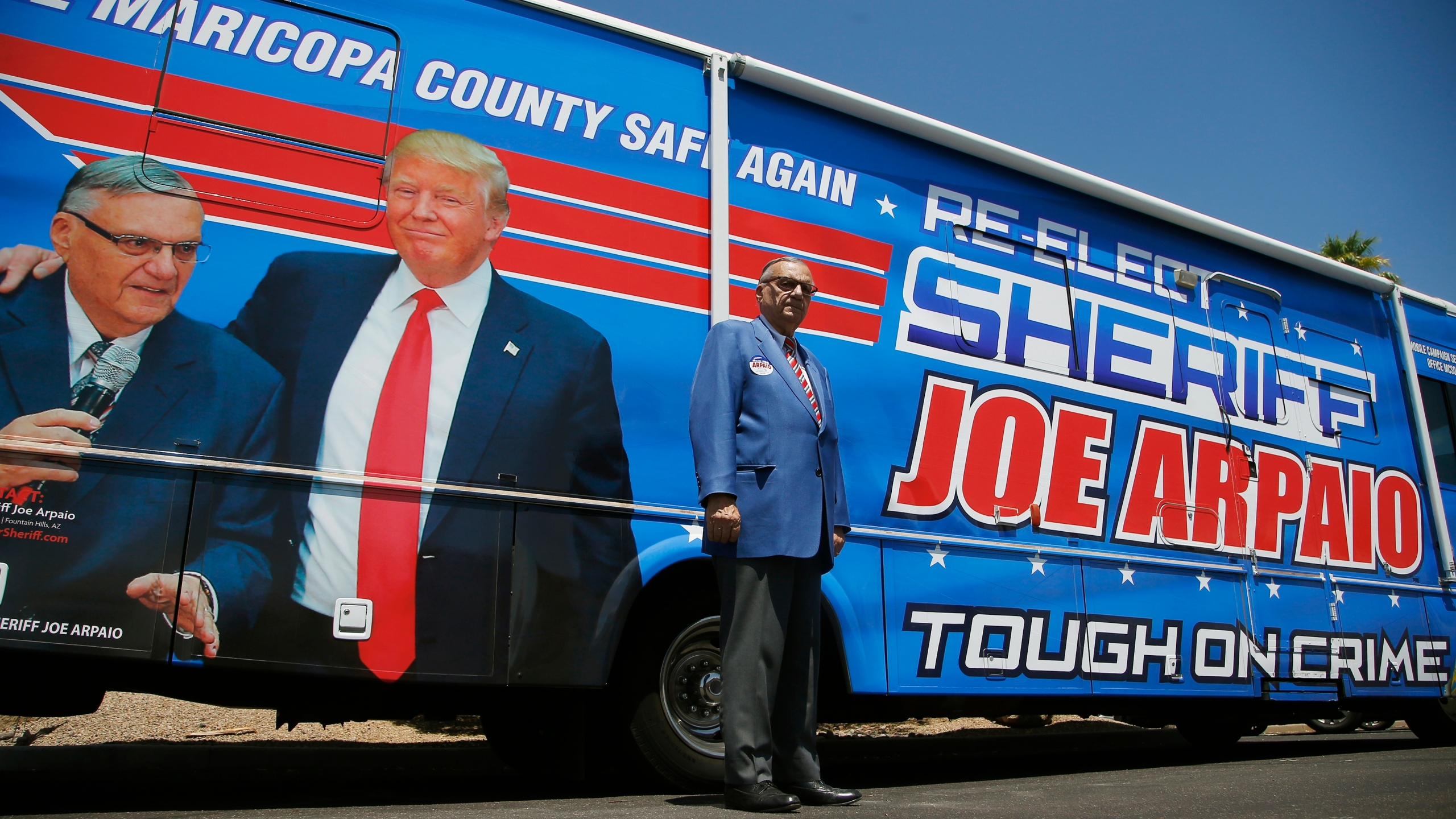Former Maricopa County Sheriff Joe Arpaio, poses for a photograph in front of his campaign vehicle as he ran for his former position of Maricopa County Sheriff again on July 22, 2020. (Ross D. Franklin/Associated Press)