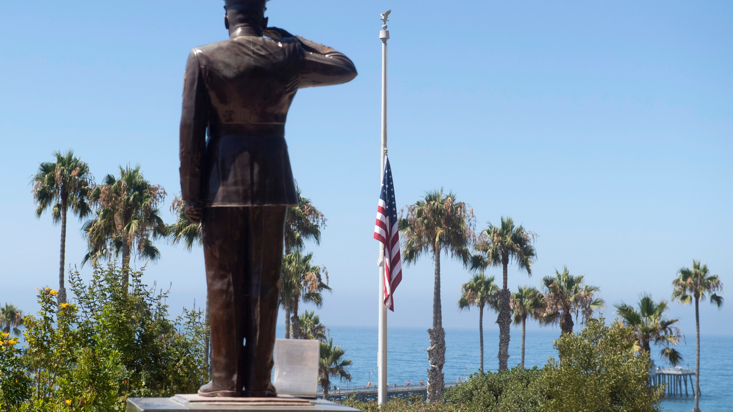 (The U.S. flag was lowered to half-staff at Park Semper Fi in San Clemente on July 31, 2020. (Paul Bersebach/The Orange County Register via AP, file)