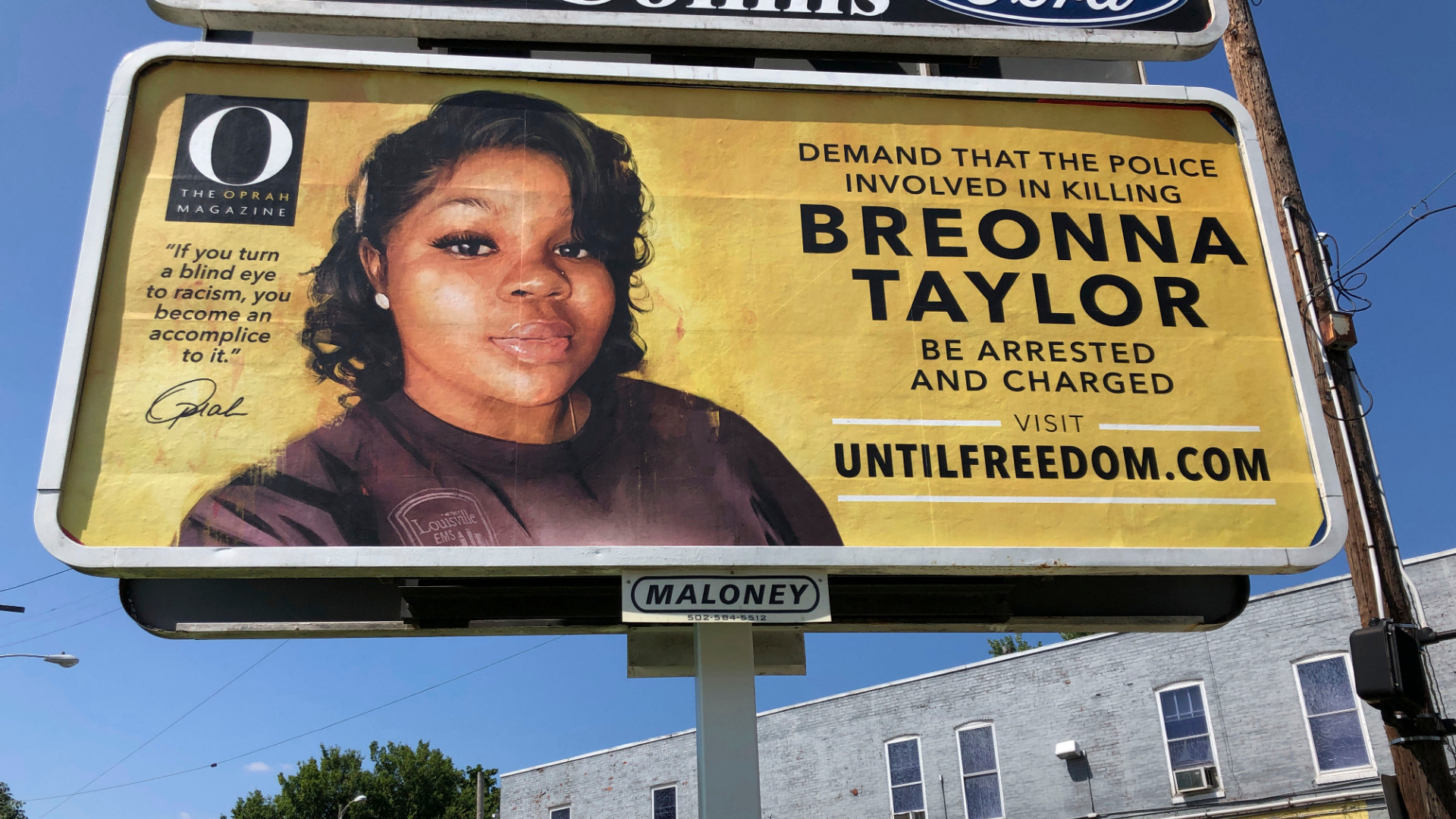 A billboard sponsored by O, The Oprah Magazine, is on display with with a photo of Breonna Taylor on Aug. 7, 2020, in Louisville, Kentucky. (Dylan T. Lovan / Associated Press)
