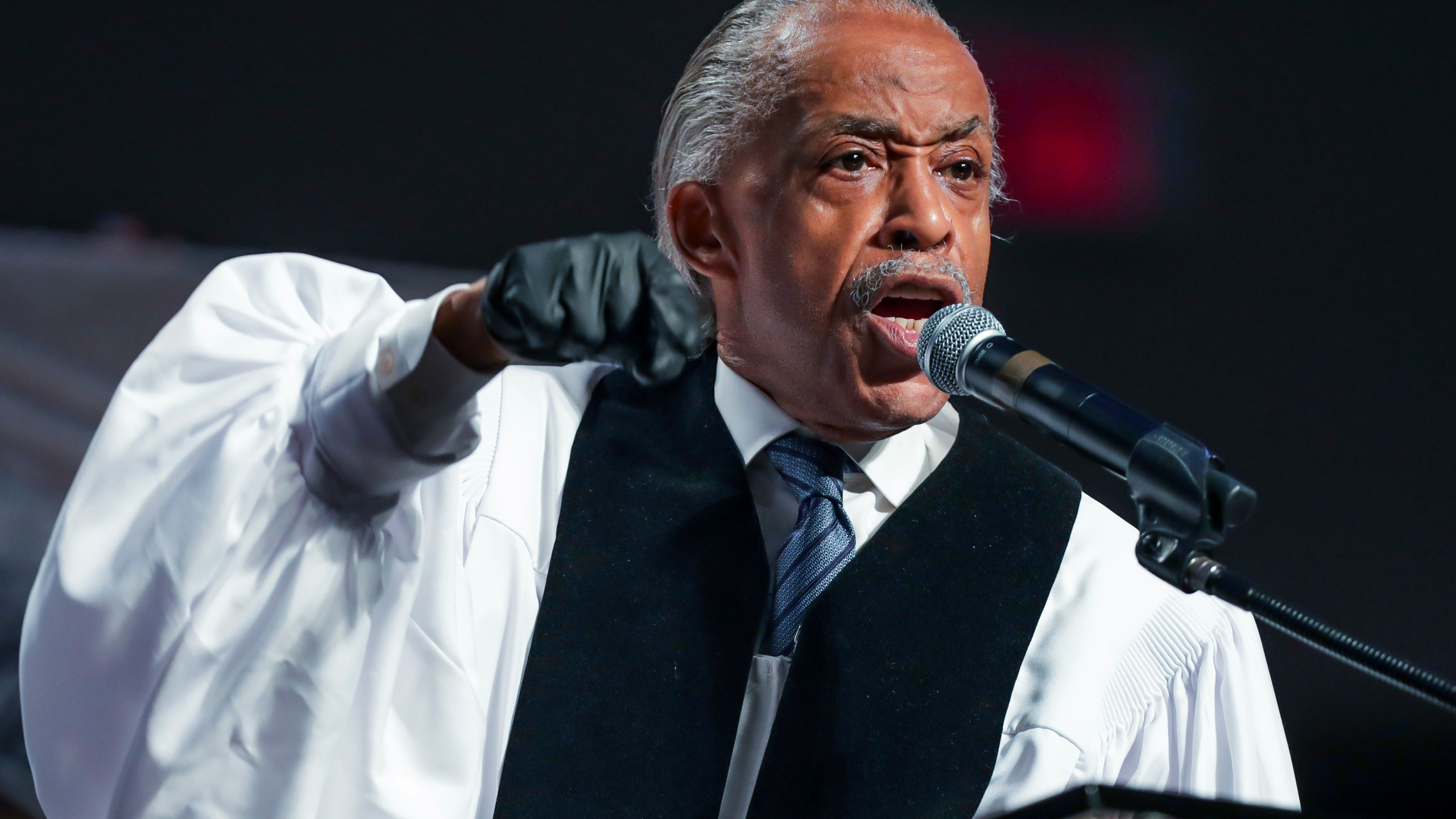The Rev. Al Sharpton speaks during the funeral for George Floyd at The Fountain of Praise church in Houston on June 9, 2020. (Godofredo A. Vásquez/Houston Chronicle via Associated Press, Pool)