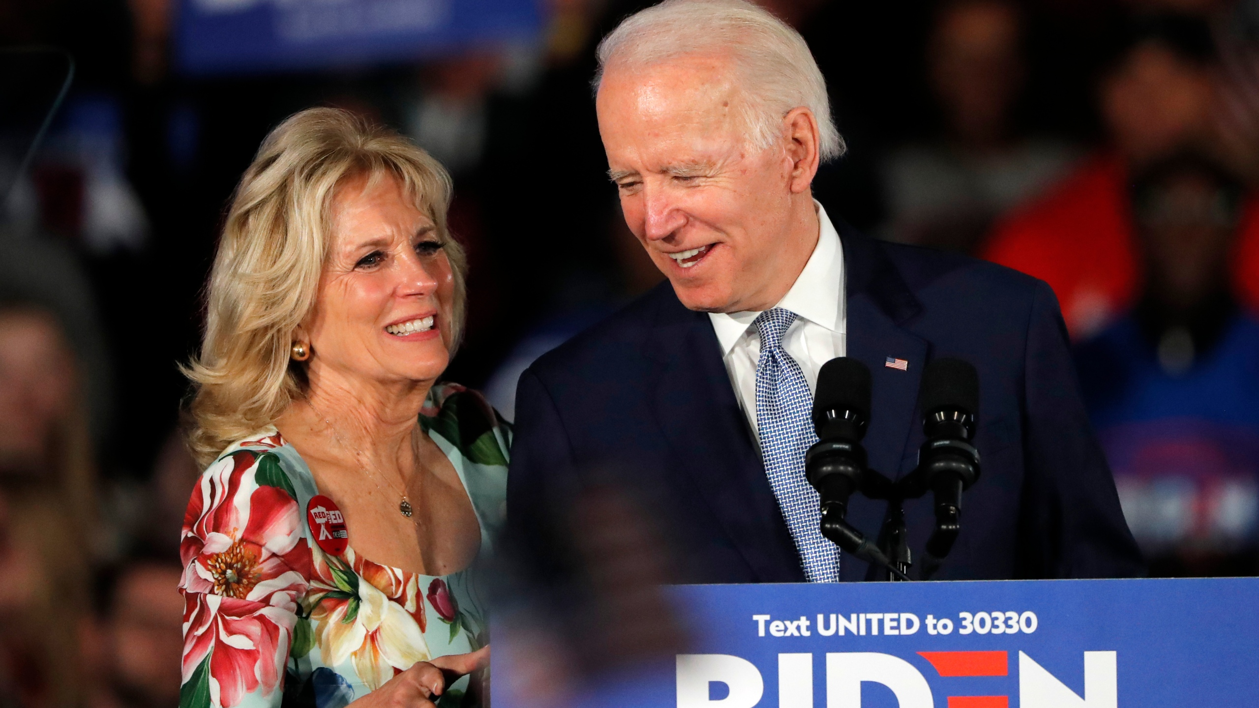 Democratic presidential candidate former Vice President Joe Biden, accompanied by his wife Jill Biden, speaks at a primary night election rally in Columbia, South Carolina, on Feb. 29, 2020. (Gerald Herbert / Associated Press)