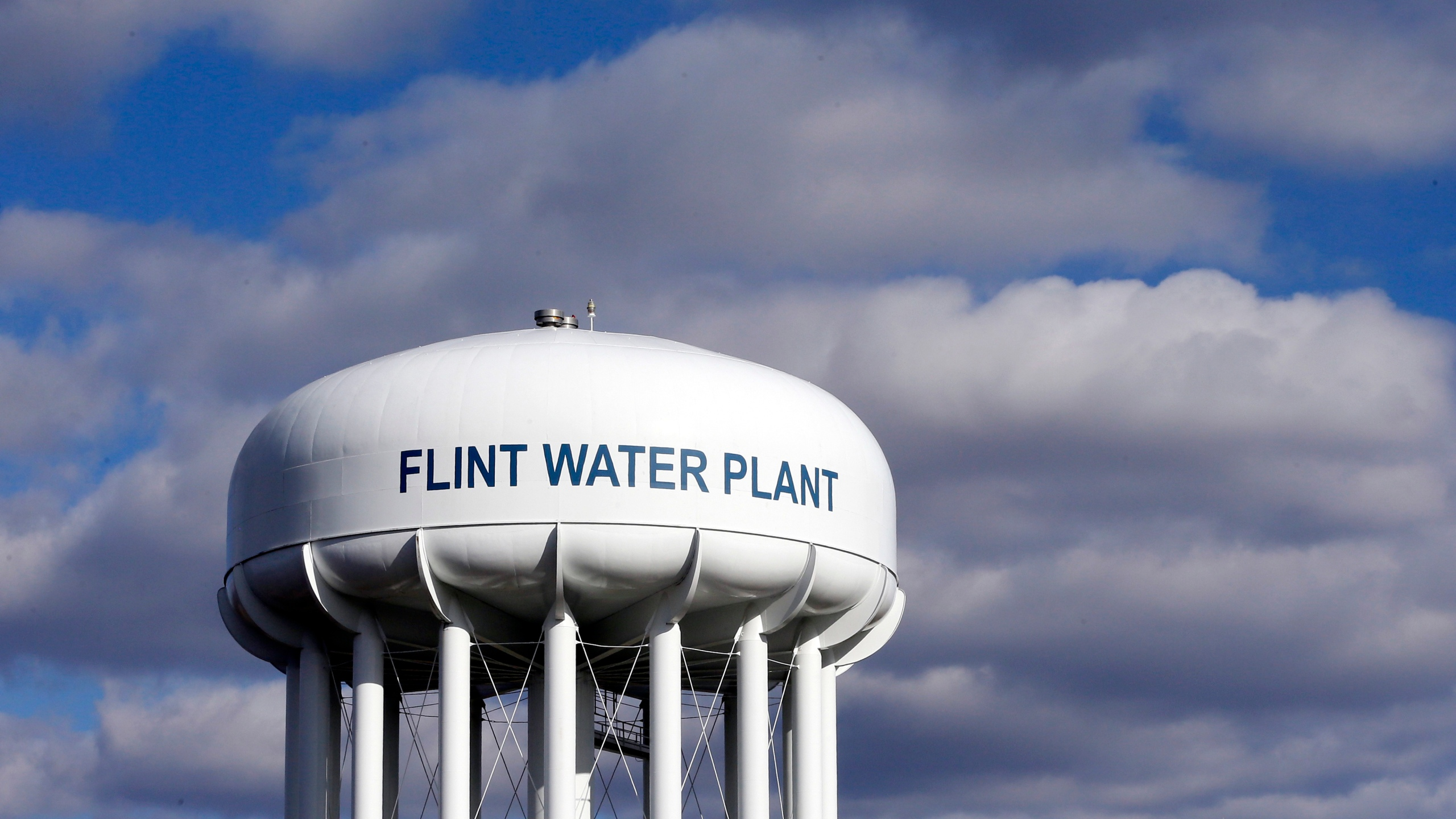 In this March 21, 2016, file photo, the Flint Water Plant water tower is seen in Flint, Michigan. (Carlos Osorio / Associated Press)