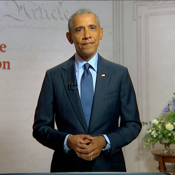 In this image from video, former President Barack Obama speaks during the third night of the Democratic National Convention on Aug. 19, 2020. (Democratic National Convention via Associated Press)