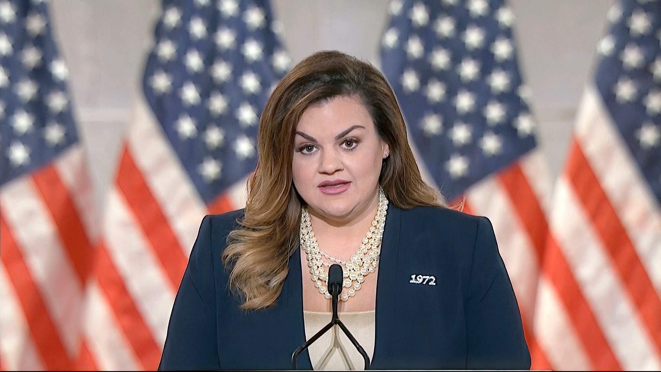 In this image from video, Abby Johnson speaks from Washington during the second night of the Republican National Convention on Aug. 25, 2020. (Courtesy of the Committee on Arrangements for the 2020 Republican National Committee via Associated Press)
