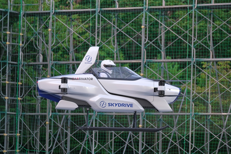 "A test flight of a manned '""flying car"" at Toyota Test Field in Toyota, central Japan in August, 2020.(©SkyDrive/CARTIVATOR 2020 via AP)"