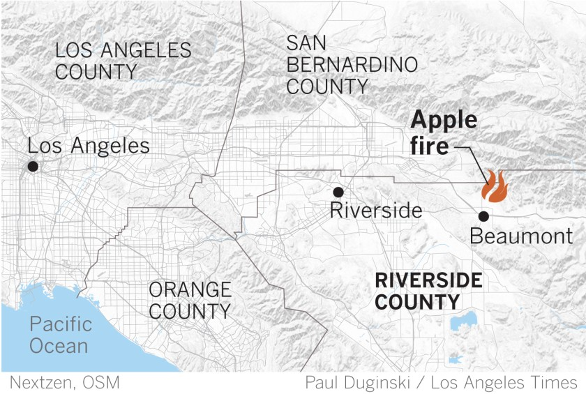 A map from the Los Angeles Times shows where the Apple Fire was burning on July 31, 2020.